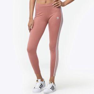 Adidas Three Stripe Rose Gold Pink Leggings XL